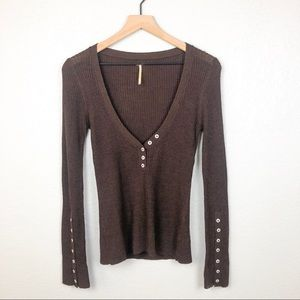 Free People Ribbed Deep V-Neck Button Sweater